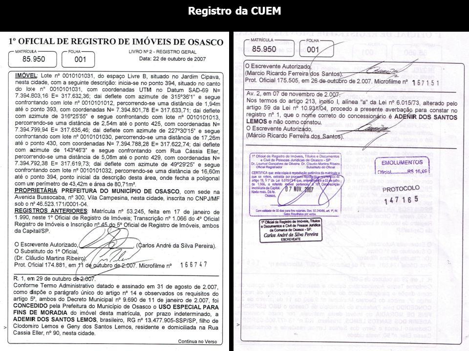Registro da CUEM
