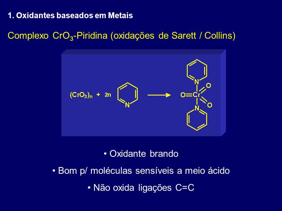 Complexo CrO 3 -Piridina (oxidações de Sarett / Collins) Oxidante brando Bom p/ moléculas sensíveis a meio ácido Não oxida ligações C=C 1. Oxidantes b