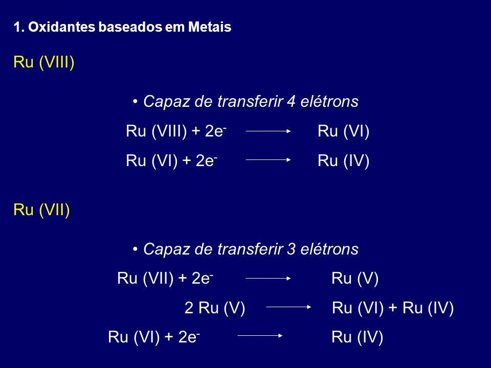 Ru (VIII) Capaz de transferir 4 elétrons Ru (VIII) + 2e - Ru (VI) Ru (VI) + 2e - Ru (IV) Ru (VII) Capaz de transferir 3 elétrons Ru (VII) + 2e - Ru (V