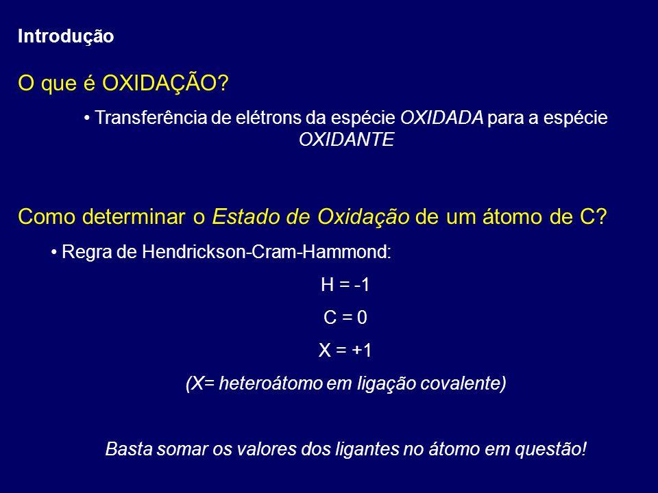 Introdução Exemplos CH 4 C = 4x(-1) C = -4 CH 3 OHC = 3x(-1) + 1x(+1)C = -2 H 2 C=OC = 2x(-1) + 2x(+1)C = 0 H 2 C=CH 2 C = 2x(-1) + 2x(0)C = -2 HC(=O)OHC = (-1) + 2x(+1) + (+1)C = +2 Cr(=O) 3 Cr = 6x(+1)Cr = +6 Mn(=O) 2 Mn = 4x(+1)Mn = +4