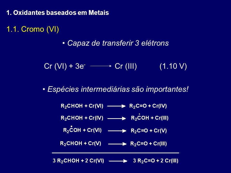 Reagentes de Cr(VI) mais frequentes CrO 3 em ácido sulfúrico (ácido crômico) CrO 3 em ácido acético (ácido crômico) CrO 3 em anidrido acético (acetato crômico) CrO 3 em acetona (Reagente de Jones) CrO 3 em piridina (CrO 3 -Py) Piridínio Cloro Cromato (PCC) Piridínio Dicromato (PDC)