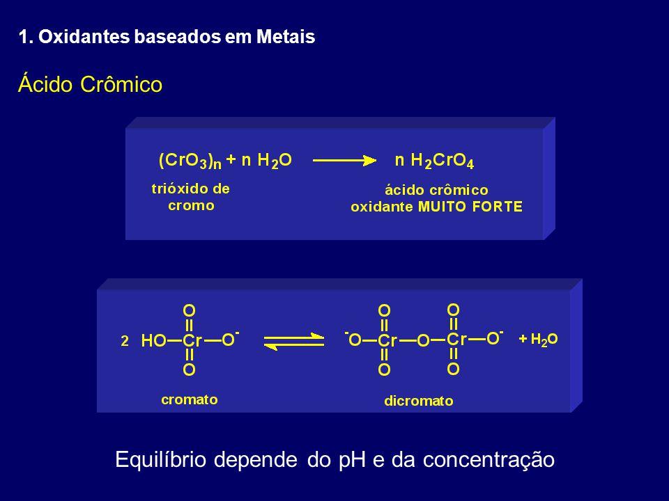 Ácido Crômico Equilíbrio depende do pH e da concentração 1. Oxidantes baseados em Metais