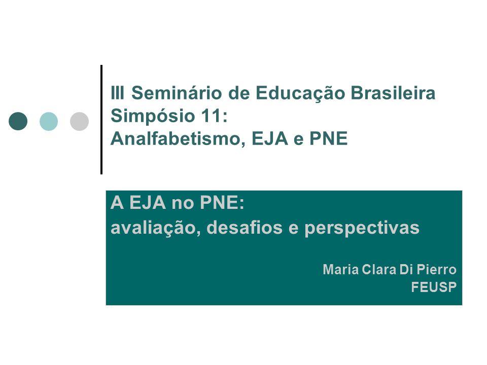 III Seminário de Educação Brasileira Simpósio 11: Analfabetismo, EJA e PNE A EJA no PNE: avaliação, desafios e perspectivas Maria Clara Di Pierro FEUS