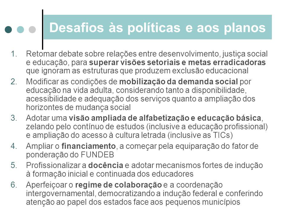 Desafios às políticas e aos planos 1.Retomar debate sobre relações entre desenvolvimento, justiça social e educação, para superar visões setoriais e m