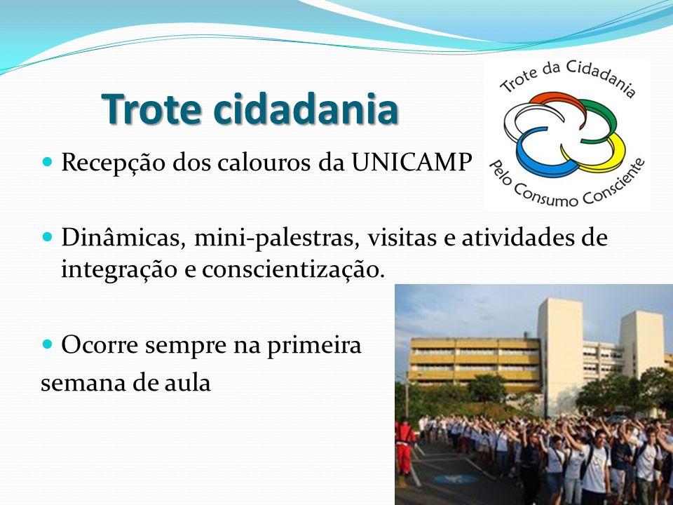 Trote cidadania Recepção dos calouros da UNICAMP Dinâmicas, mini-palestras, visitas e atividades de integração e conscientização. Ocorre sempre na pri