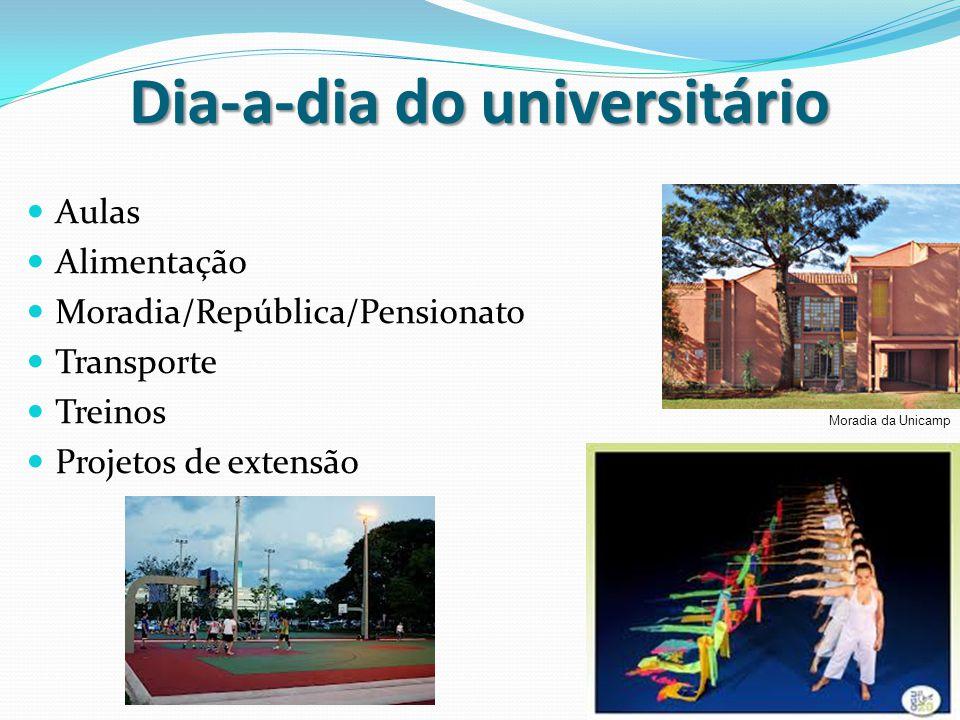 Dia-a-dia do universitário Aulas Alimentação Moradia/República/Pensionato Transporte Treinos Projetos de extensão Moradia da Unicamp