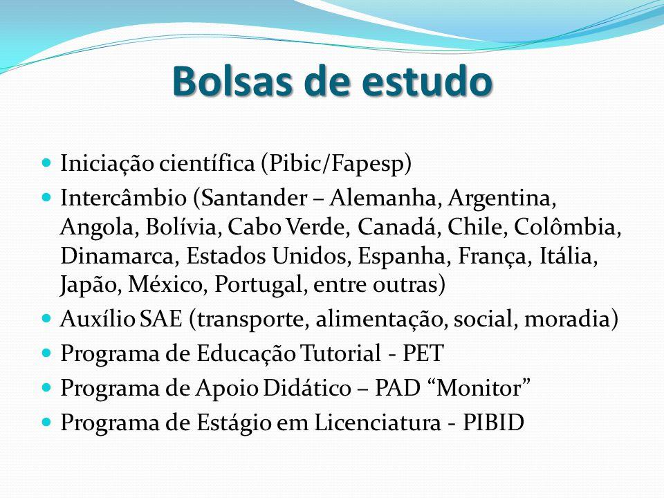 Bolsas de estudo Iniciação científica (Pibic/Fapesp) Intercâmbio (Santander – Alemanha, Argentina, Angola, Bolívia, Cabo Verde, Canadá, Chile, Colômbi