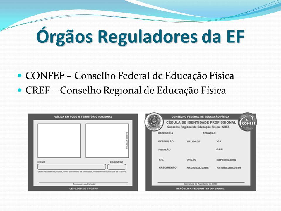 Órgãos Reguladores da EF CONFEF – Conselho Federal de Educação Física CREF – Conselho Regional de Educação Física