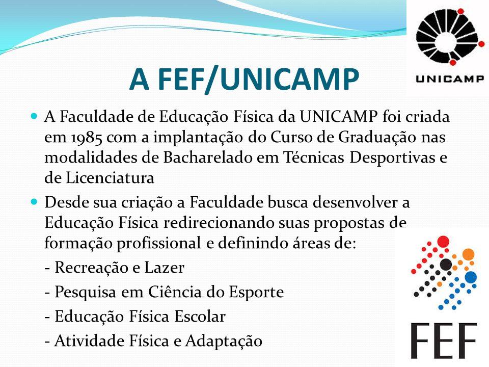 A FEF/UNICAMP A Faculdade de Educação Física da UNICAMP foi criada em 1985 com a implantação do Curso de Graduação nas modalidades de Bacharelado em T