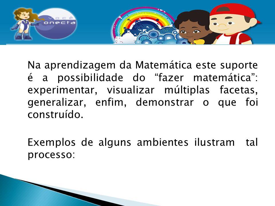 """Na aprendizagem da Matemática este suporte é a possibilidade do """"fazer matemática"""": experimentar, visualizar múltiplas facetas, generalizar, enfim, de"""