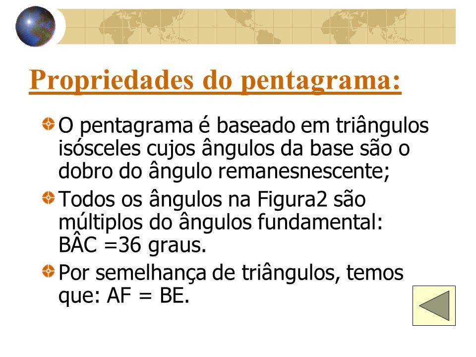 Propriedades do pentagrama: O pentagrama é baseado em triângulos isósceles cujos ângulos da base são o dobro do ângulo remanesnescente; Todos os ângulos na Figura2 são múltiplos do ângulos fundamental: BÂC =36 graus.