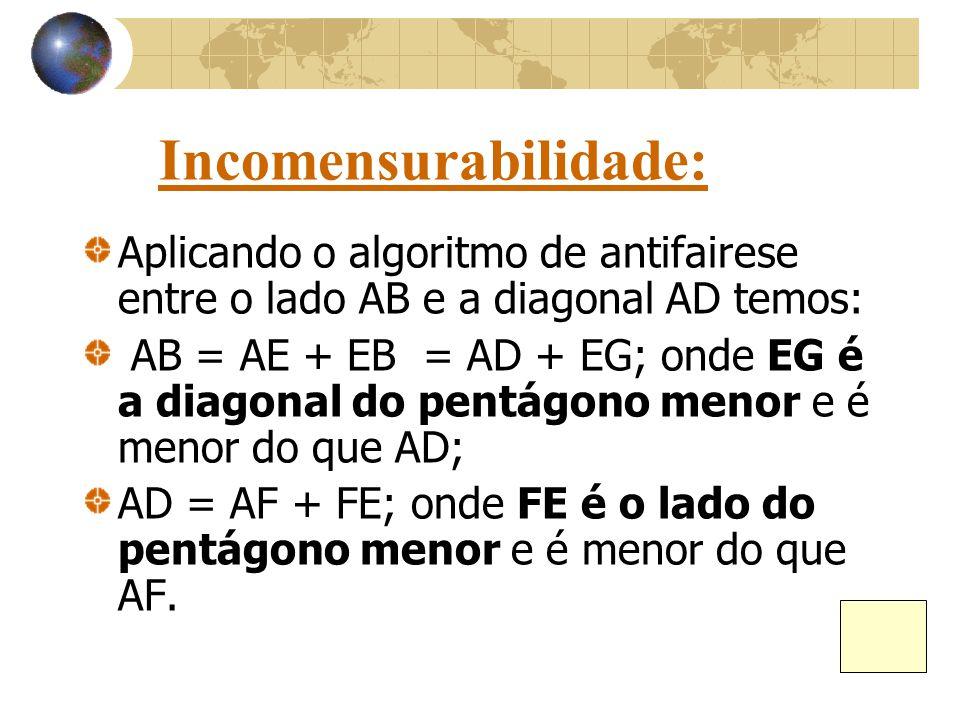 Incomensurabilidade: Aplicando o algoritmo de antifairese entre o lado AB e a diagonal AD temos: AB = AE + EB = AD + EG; onde EG é a diagonal do pentá