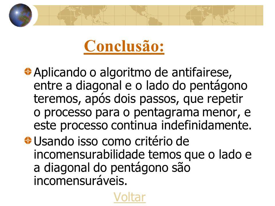 Conclusão: Aplicando o algoritmo de antifairese, entre a diagonal e o lado do pentágono teremos, após dois passos, que repetir o processo para o penta