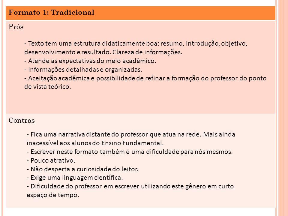 Formato 1: Tradicional Prós Contras - Texto tem uma estrutura didaticamente boa: resumo, introdução, objetivo, desenvolvimento e resultado. Clareza de