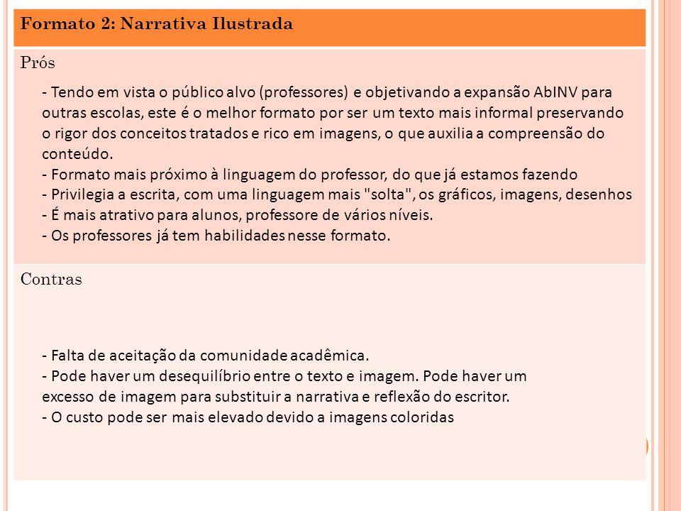 Formato 2: Narrativa Ilustrada Prós Contras - Tendo em vista o público alvo (professores) e objetivando a expansão AbINV para outras escolas, este é o