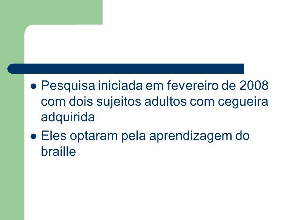 Pesquisa iniciada em fevereiro de 2008 com dois sujeitos adultos com cegueira adquirida Eles optaram pela aprendizagem do braille