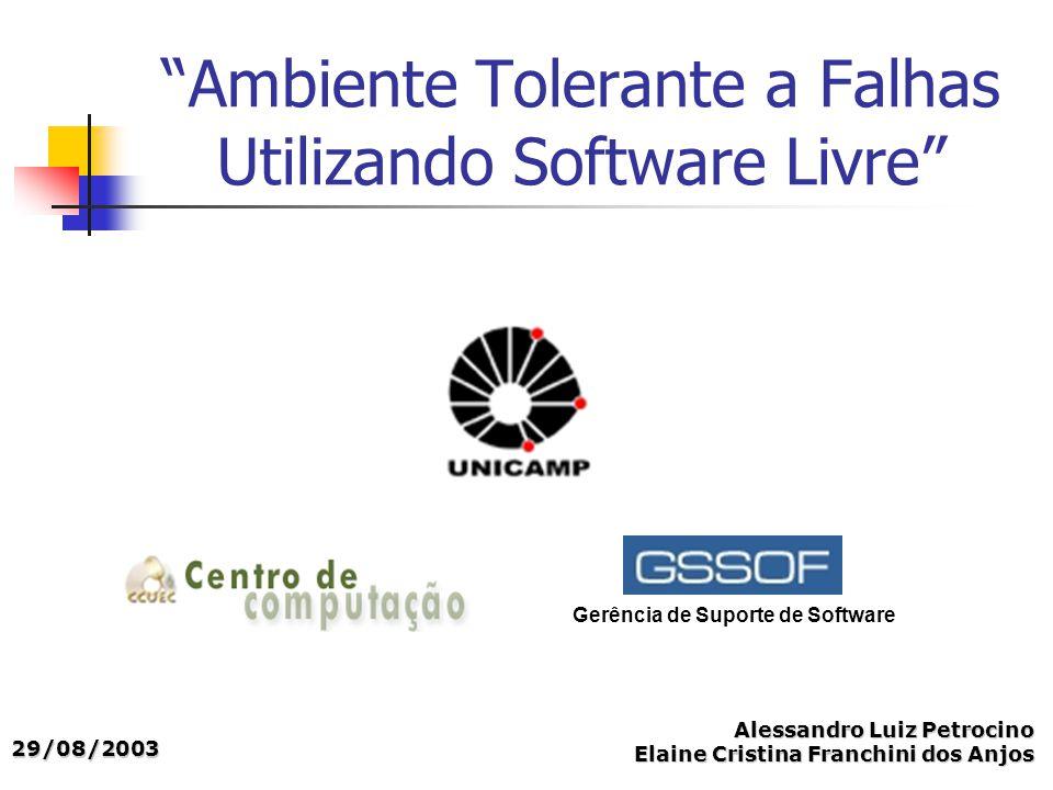 Ambiente Tolerante a Falhas Utilizando Software Livre Gerência de Suporte de Software Alessandro Luiz Petrocino Elaine Cristina Franchini dos Anjos 29/08/2003