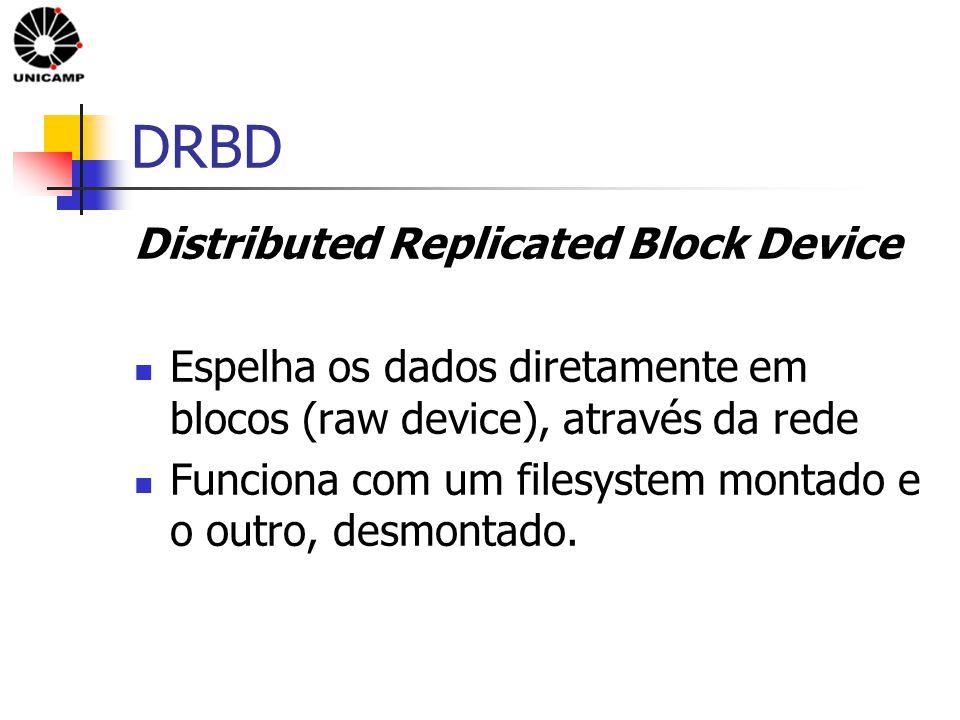 DRBD Distributed Replicated Block Device Espelha os dados diretamente em blocos (raw device), através da rede Funciona com um filesystem montado e o outro, desmontado.