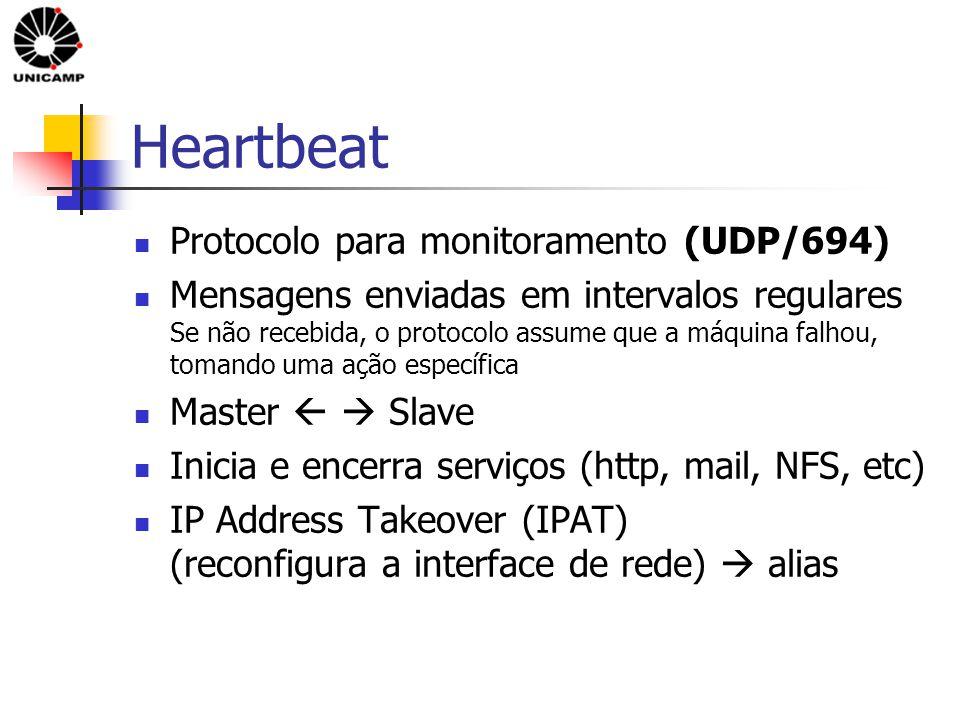 Heartbeat Protocolo para monitoramento (UDP/694) Mensagens enviadas em intervalos regulares Se não recebida, o protocolo assume que a máquina falhou, tomando uma ação específica Master   Slave Inicia e encerra serviços (http, mail, NFS, etc) IP Address Takeover (IPAT) (reconfigura a interface de rede)  alias