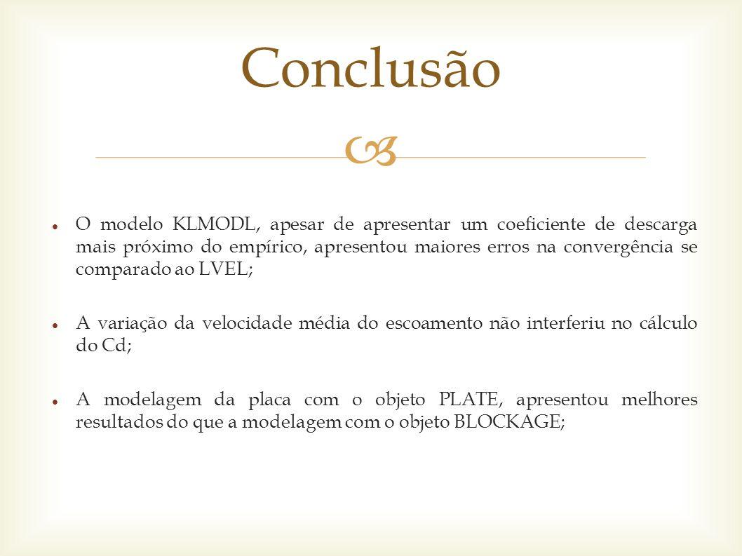  O modelo KLMODL, apesar de apresentar um coeficiente de descarga mais próximo do empírico, apresentou maiores erros na convergência se comparado ao