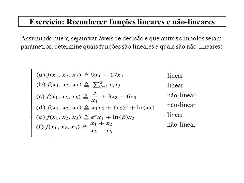 Exercício: Reconhecer programas lineares e não-lineares Assumindo que y j sejam variáveis de decisão e que outros símbolos sejam parâmetros, determine quais programas são lineares e quais são não- lineares: linear não-linear