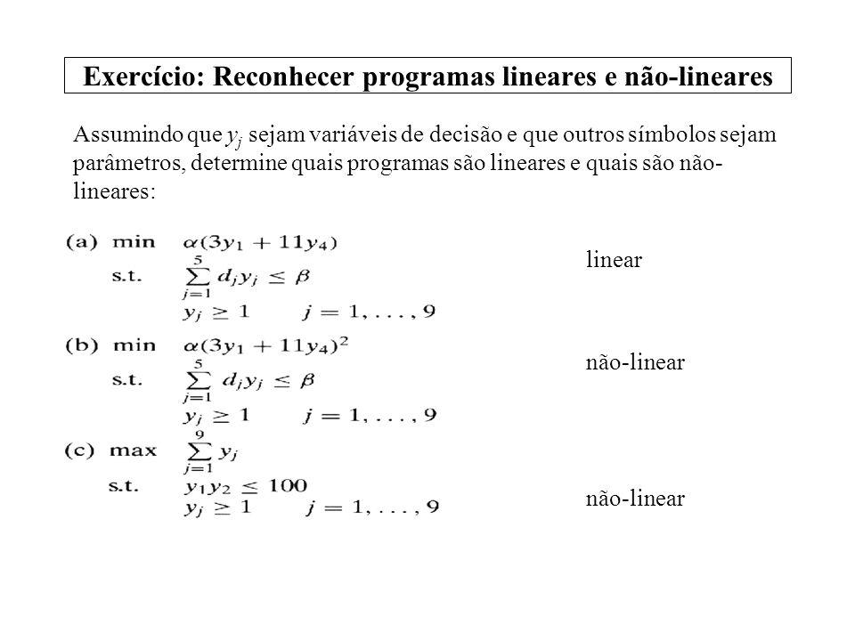 Exercício: Reconhecer programas lineares e não-lineares Assumindo que y j sejam variáveis de decisão e que outros símbolos sejam parâmetros, determine