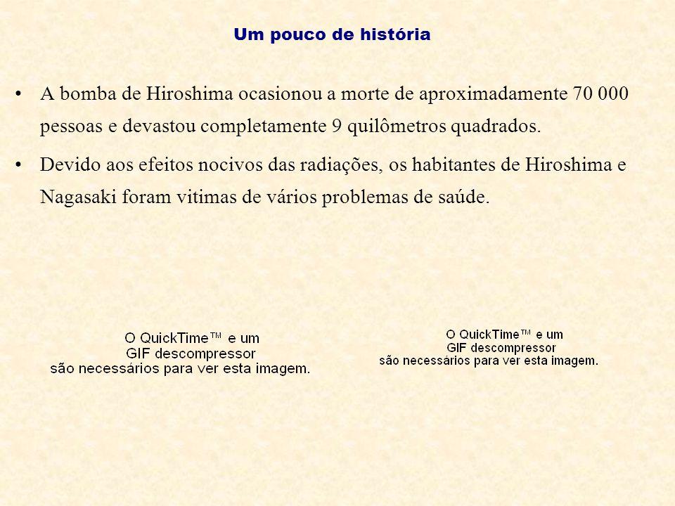 A bomba de Hiroshima ocasionou a morte de aproximadamente 70 000 pessoas e devastou completamente 9 quilômetros quadrados. Devido aos efeitos nocivos