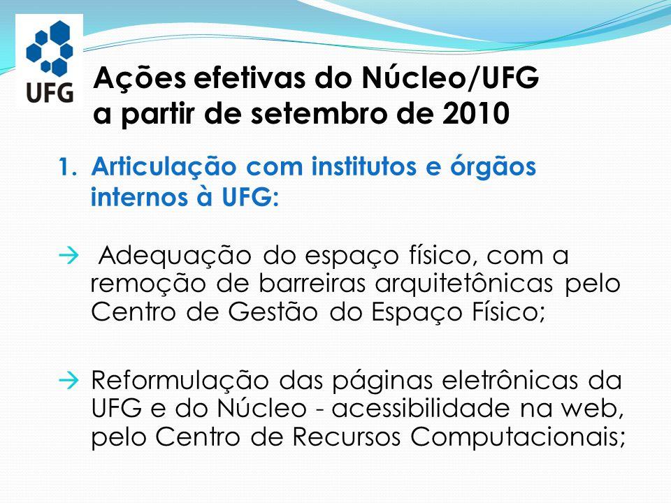 Ações efetivas do Núcleo/UFG a partir de setembro de 2010 1. Articulação com institutos e órgãos internos à UFG:  Adequação do espaço físico, com a r