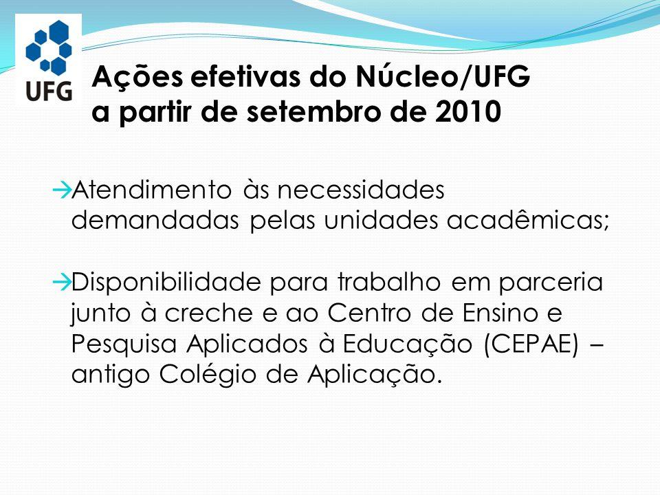  Atendimento às necessidades demandadas pelas unidades acadêmicas;  Disponibilidade para trabalho em parceria junto à creche e ao Centro de Ensino e