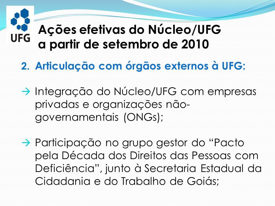 2. Articulação com órgãos externos à UFG:  Integração do Núcleo/UFG com empresas privadas e organizações não- governamentais (ONGs);  Participação n