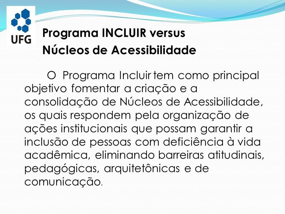 Programa INCLUIR versus Núcleos de Acessibilidade O Programa Incluir tem como principal objetivo fomentar a criação e a consolidação de Núcleos de Ace