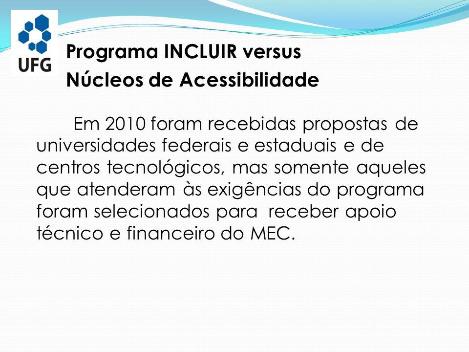  Realização de disciplinas ministradas por integrantes do Núcleo/UFG:  Educação Especial, Acessibilidade e Inclusão , como parte das disciplinas de Núcleo Livre ministradas na Faculdade de Educação (FE/UFG), no segundo semestre de 2010; Ações efetivas do Núcleo/UFG a partir de setembro de 2010