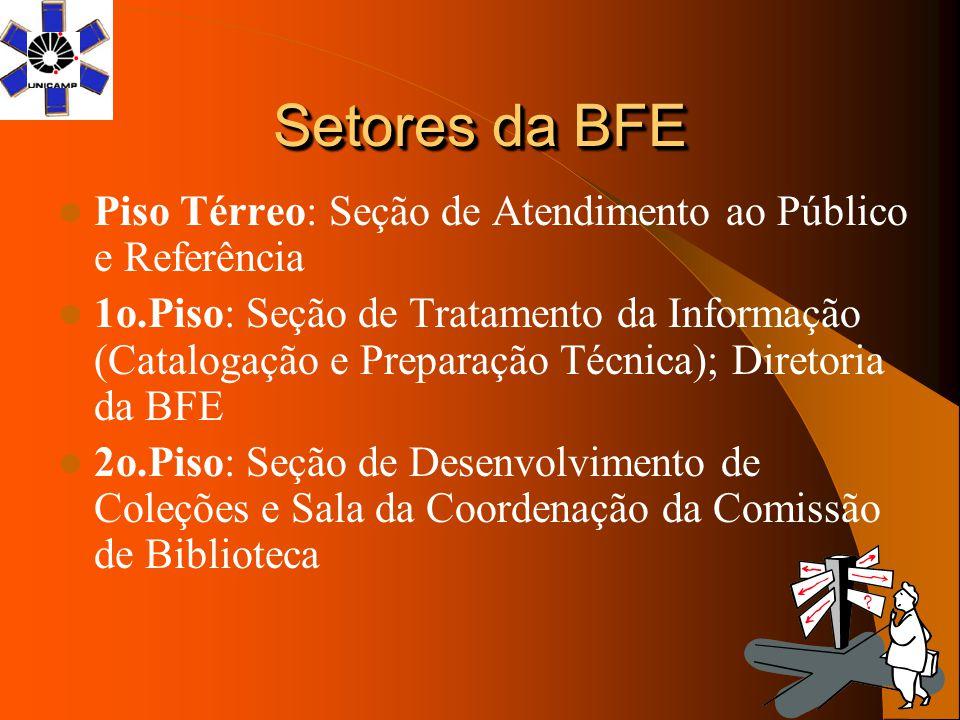 Setores da BFE Piso Térreo: Seção de Atendimento ao Público e Referência 1o.Piso: Seção de Tratamento da Informação (Catalogação e Preparação Técnica)