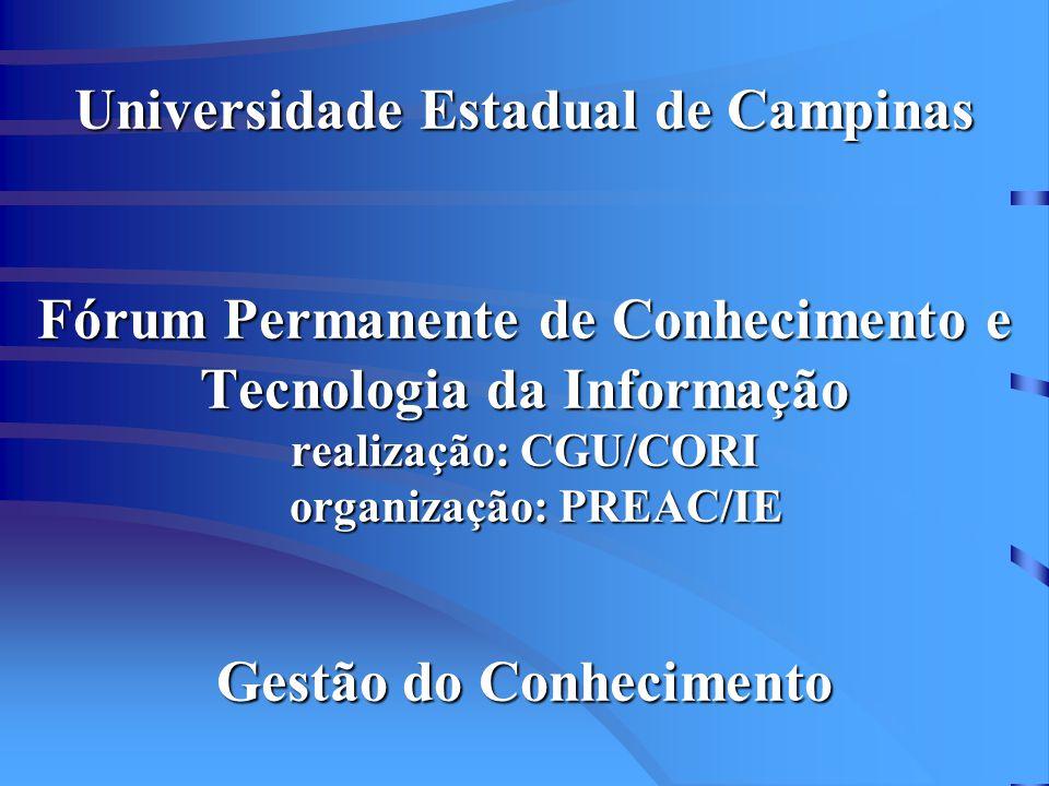 Universidade Estadual de Campinas Fórum Permanente de Conhecimento e Tecnologia da Informação realização: CGU/CORI organização: PREAC/IE Gestão do Conhecimento
