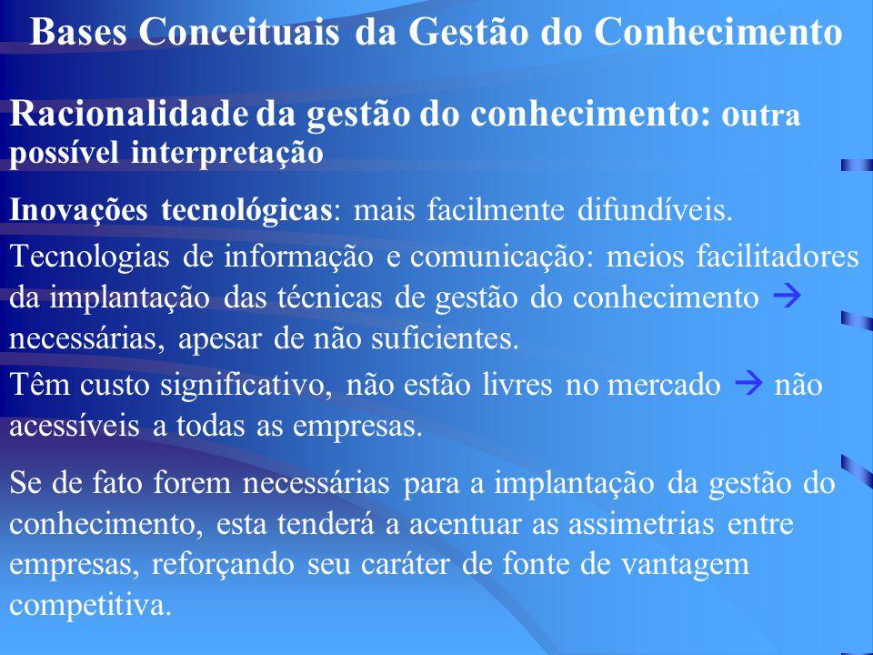 Bases Conceituais da Gestão do Conhecimento Racionalidade da gestão do conhecimento: o utra possível interpretação Inovações tecnológicas: mais facilmente difundíveis.