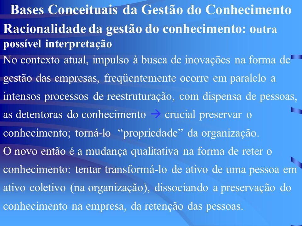 Bases Conceituais da Gestão do Conhecimento Racionalidade da gestão do conhecimento: o utra possível interpretação No contexto atual, impulso à busca