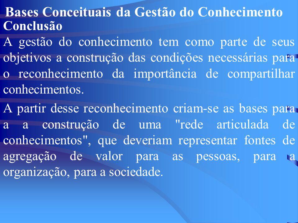 Bases Conceituais da Gestão do Conhecimento Conclusão A gestão do conhecimento tem como parte de seus objetivos a construção das condições necessárias para o reconhecimento da importância de compartilhar conhecimentos.