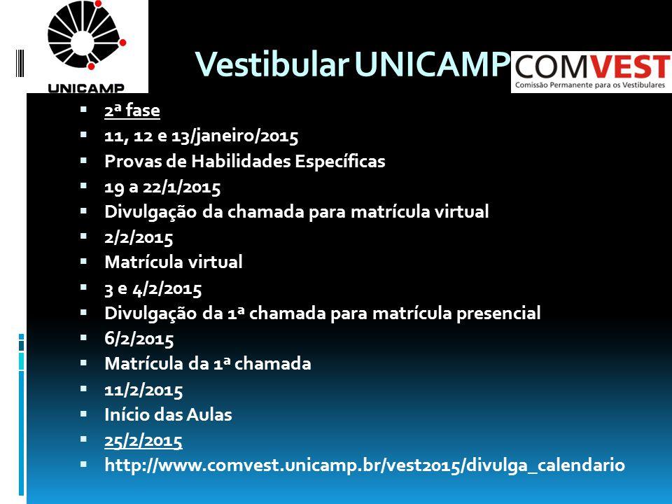 Vestibular UNICAMP  2ª fase  11, 12 e 13/janeiro/2015  Provas de Habilidades Específicas  19 a 22/1/2015  Divulgação da chamada para matrícula virtual  2/2/2015  Matrícula virtual  3 e 4/2/2015  Divulgação da 1ª chamada para matrícula presencial  6/2/2015  Matrícula da 1ª chamada  11/2/2015  Início das Aulas  25/2/2015  http://www.comvest.unicamp.br/vest2015/divulga_calendario
