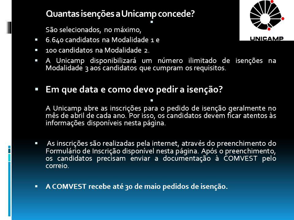 Quantas isenções a Unicamp concede.