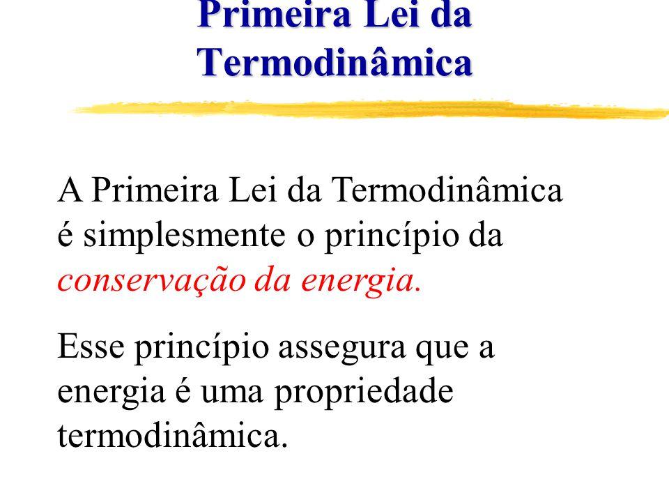 Primeira Lei da Termodinâmica A Primeira Lei da Termodinâmica é simplesmente o princípio da conservação da energia.