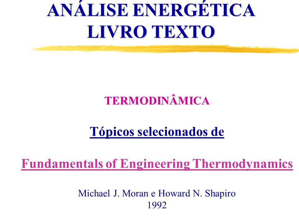 TERMODINÂMICA Tópicos selecionados de Fundamentals of Engineering Thermodynamics Michael J.