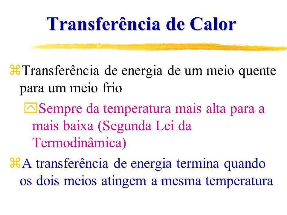 Transferência de Calor Transferência de Calor zCalor é a forma de energia que pode ser transferida de um corpo para outro unicamente como resultado da diferença de temperatura zTaxa de transferência de energia (Energia/Tempo)