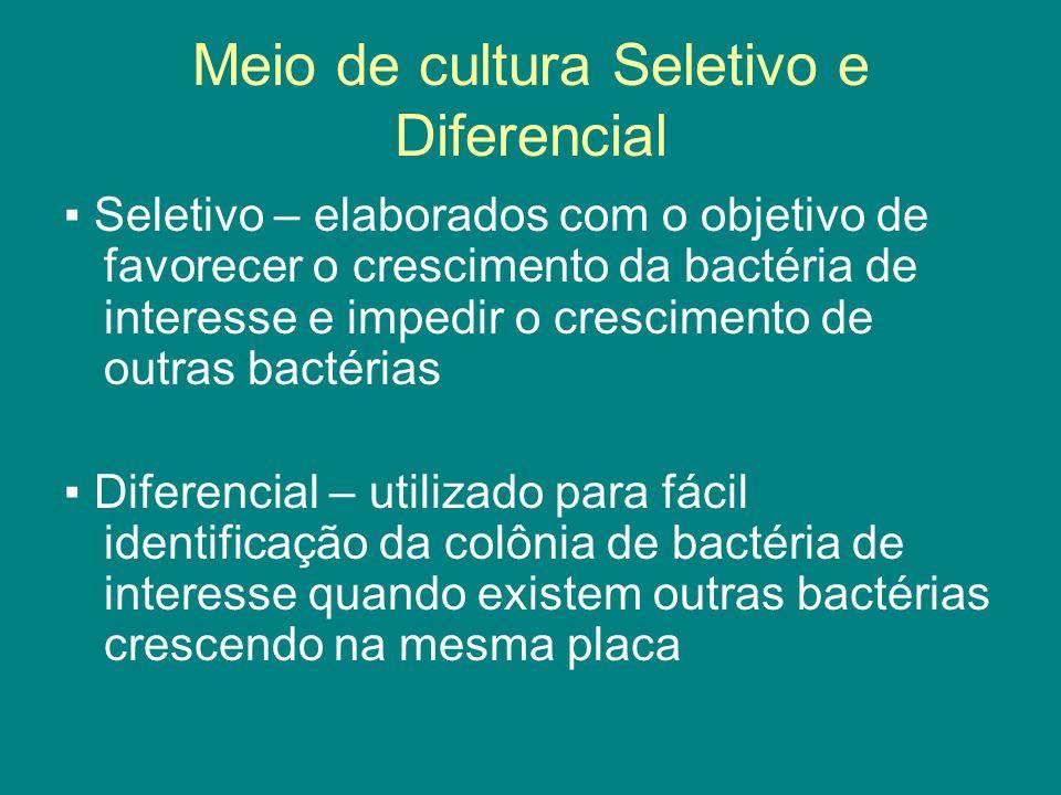 Meio de cultura Seletivo e Diferencial ▪ Seletivo – elaborados com o objetivo de favorecer o crescimento da bactéria de interesse e impedir o crescime