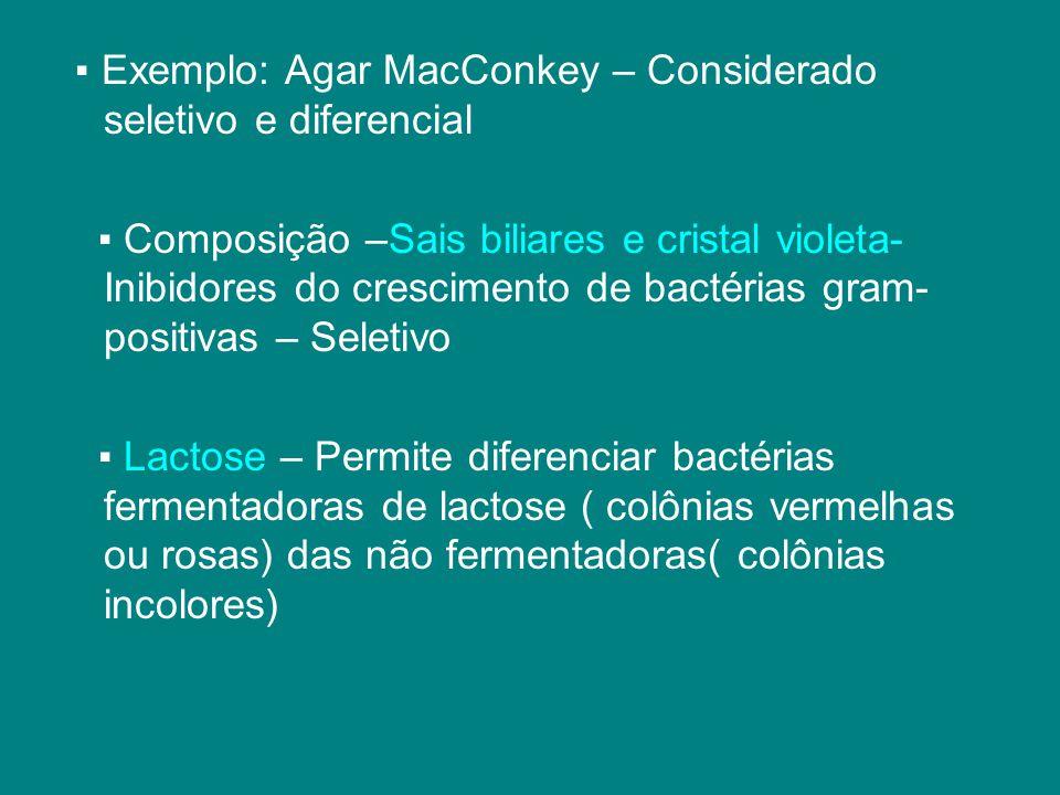 ▪ Exemplo: Agar MacConkey – Considerado seletivo e diferencial ▪ Composição –Sais biliares e cristal violeta- Inibidores do crescimento de bactérias g