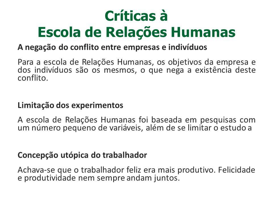Críticas à Escola de Relações Humanas A negação do conflito entre empresas e indivíduos Para a escola de Relações Humanas, os objetivos da empresa e d