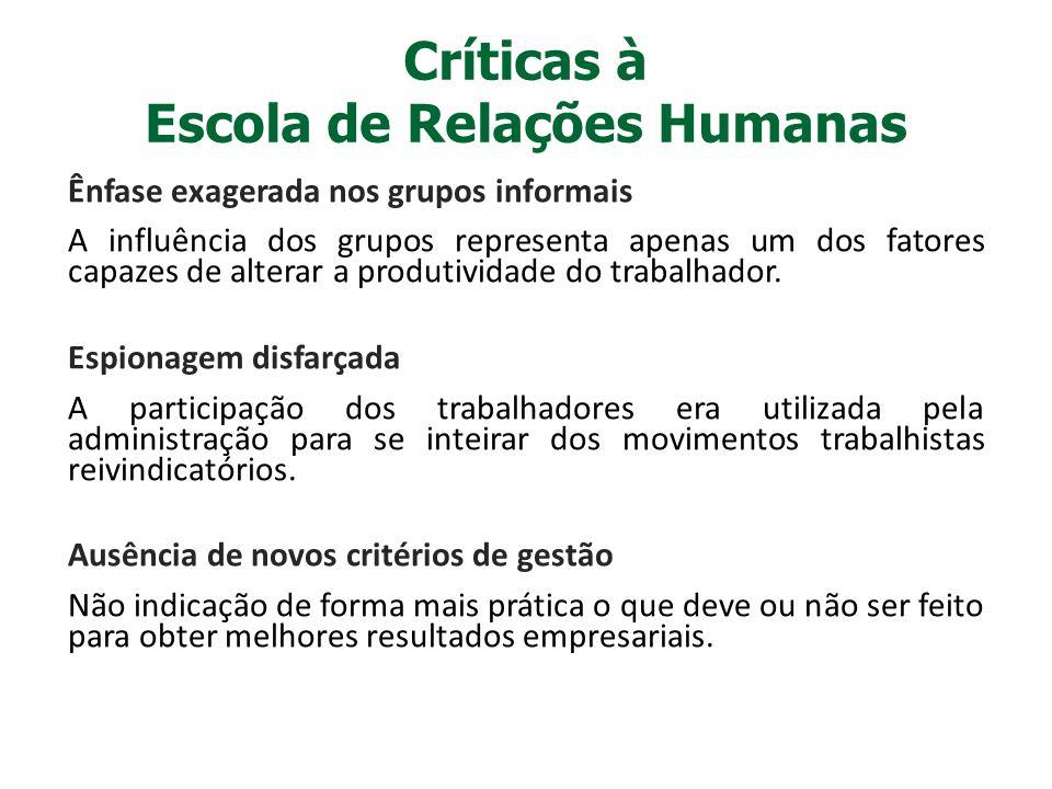 Críticas à Escola de Relações Humanas Ênfase exagerada nos grupos informais A influência dos grupos representa apenas um dos fatores capazes de altera