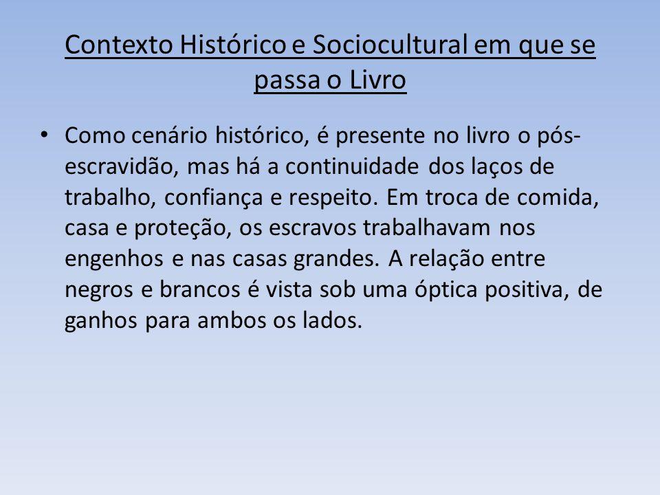 Contexto Histórico e Sociocultural em que se passa o Livro Como cenário histórico, é presente no livro o pós- escravidão, mas há a continuidade dos la