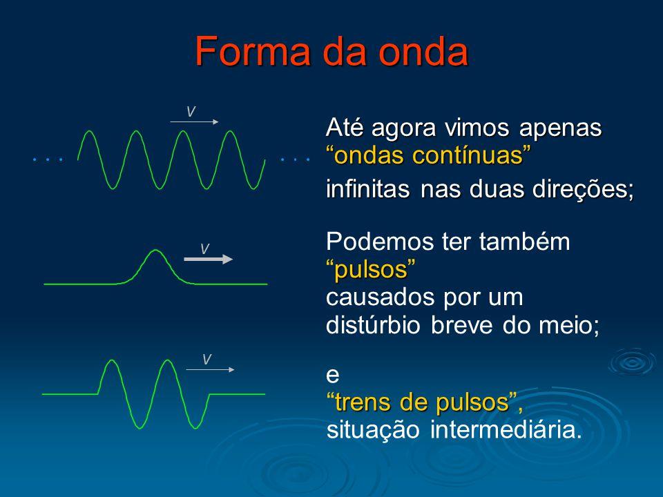 """Forma da onda Até agora vimos apenas """"ondas contínuas"""" infinitas nas duas direções; v v pulsos Podemos ter também """"pulsos"""" causados por um distúrbio b"""