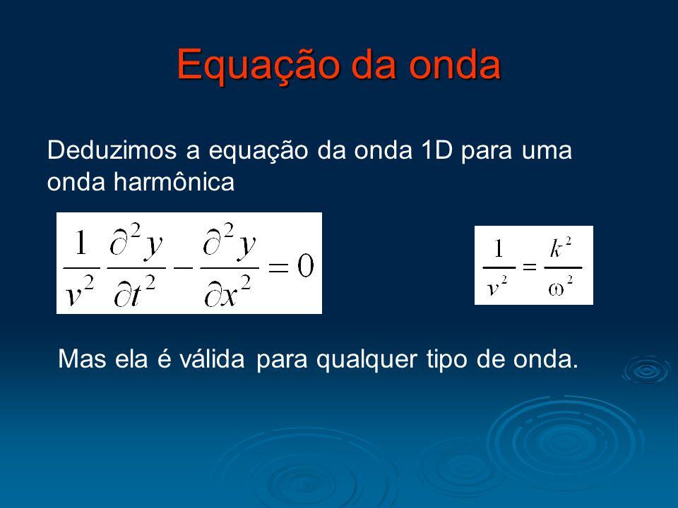 Deduzimos a equação da onda 1D para uma onda harmônica Equação da onda Mas ela é válida para qualquer tipo de onda.