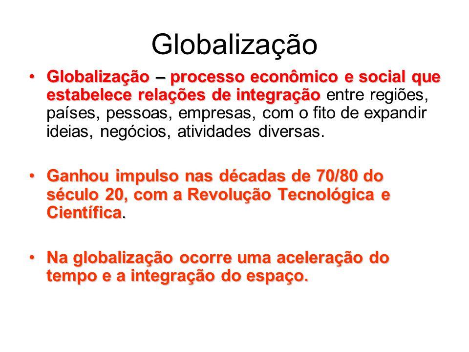 Globalização Globalização – processo econômico e social que estabelece relações de integração entre regiões, países, pessoas, empresas, com o fito de